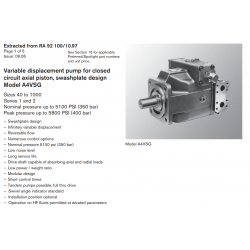 Variable displacement pump for closed circuit axial piston, swashplate design Model A4VSG