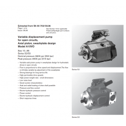 Variable displacement pump for open circuits, Axial piston, swashplate design Model A10VO