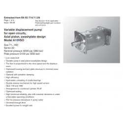 Variable displacement pump for open circuits, Axial piston, swashplate design Model A10VSO