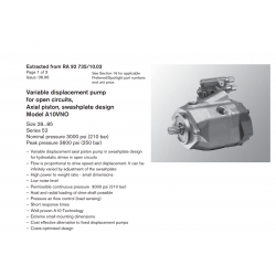 Variable displacement pump for open circuits, Axial piston, swashplate design Model A10VNO