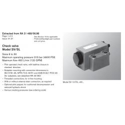 Check valve Model SV/SL Sizes 6 to 30 Maximum operating pressure 315 bar (4600 PSI)