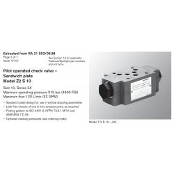 Pilot operated check valve – Sandwich plate Model Z2 S 10 Size 10, Series 3X Maximum operating pressure 315 bar (4600 PSI)