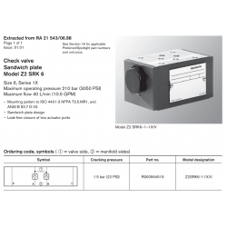 Check valve Sandwich plate Model Z2 SRK 6 Size 6, Series 1X Maximum operating pressure 210 bar (3050 PSI)