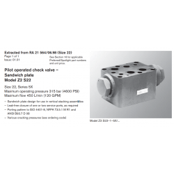 Pilot operated check valve – Sandwich plate Model Z2 S22 Size 22, Series 5X Maximum operating pressure 315 bar (4600 PSI)