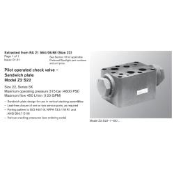 Pilot operated check valve – Sandwich plate Model Z2 S22 Size 22, Series 5X Maximum operating pressure 315 bar (4600 PSI)