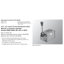 4/3-, 4/2- and 3/2-way Directional valves Manual or hydraulic operated Models WMM, WMD, WP, WN, or WHD