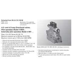 4/2- and 4/3-way Directional valves, Pilot operated, Model 4 WEH… Externally pilot operated, Model 4 WH