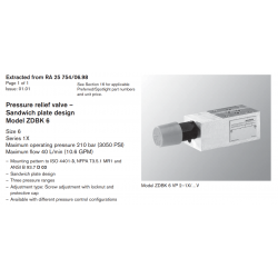 Pressure relief valve – Sandwich plate design Model ZDBK 6