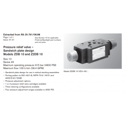 Pressure relief valve – Sandwich plate design Models ZDB 10 and Z2DB 10