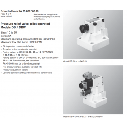 Pressure relief valve, pilot operated Models DB / DBW