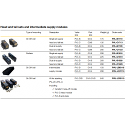 Head and tail sets and intermediate supply modules