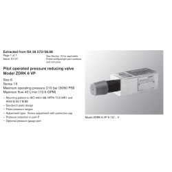 Pilot operated pressure reducing valve Model ZDRK 6 VP Size 6 Series 1X