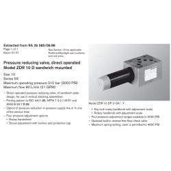 Pressure reducing valve, direct operated Model ZDR 10 D sandwich mounted Size 10 Series 5X