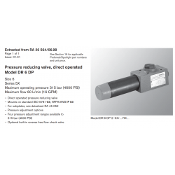 Pressure reducing valve, direct operated Model DR 6 DP Size 6 Series 5X