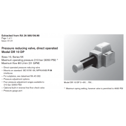 Pressure reducing valve, direct operated Model DR 10 DP Sizes 10, Series 5X