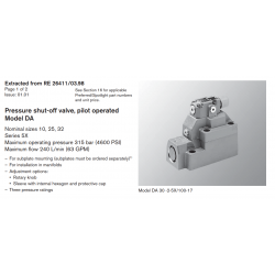 Pressure shut-off valve, pilot operated Model DA Nominal sizes 10, 25, 32 Series 5X