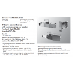 4/2 servo solenoid valves with positive overlap and position feedback (Lvdt AC/AC) Model 4WRP ..EA