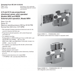 4/3 and 5/3-way proportional directional valves, pilot operated Models WRZ and WRZE External pilot operation, Model WRH