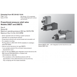 Proportional pressure relief valve Models DBET and DBETE
