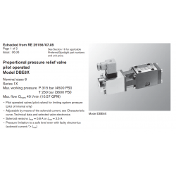 Proportional pressure relief valve pilot operated Model DBE6X