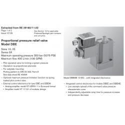 Proportional pressure relief valve Model DBE
