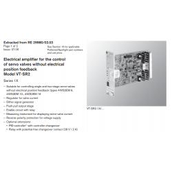 Electrical amplifi er for the control of servo valves without electrical position feedback Model VT-SR2