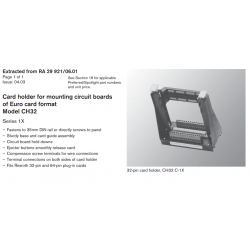 Card holder for mounting circuit boards of Euro card format Model CH32 Series 1X