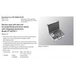 Service case with test unit for proportional and servo valves with integrated electronics Model VT-VETSY-1