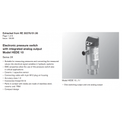 Electronic pressure switch with integrated analog output Model HEDE 10 Series 2X