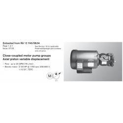Close-coupled motor pump groups Axial piston variable displacement