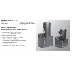 Fixed displacement Industrial hydraulic power packs