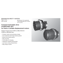 Compact hydrostatic drive HYDROTRAC GFT for fi xed or variable displacement motors