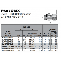 F687OMX Swivel – ISO 6149 Connector 37° Swivel / ISO 6149