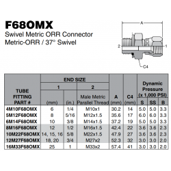 F68OMX Swivel Metric ORR Connector Metric-ORR / 37° Swivel
