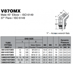 V87OMX Male 45° Elbow – ISO 6149 37° Flare / ISO 6149