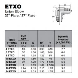 ETXO Union Elbow 37° Flare / 37° Flare