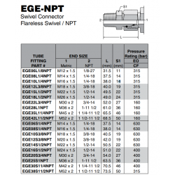 EGE-NPT Swivel Connector Flareless Swivel / NPT