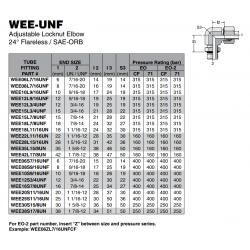 WEE-UNF Adjustable Locknut Elbow 24° Flareless / SAE-ORB