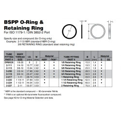 BSPP O-Ring & Retaining Ring For ISO 1179-1 / DIN 3852-2 Port