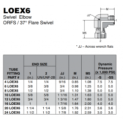 LOEX6 Swivel Elbow ORFS / 37° Flare Swivel