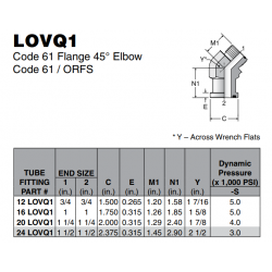 LOVQ1 Code 61 Flange 45° Elbow Code 61 / ORFS