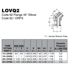 LOVQ2 Code 62 Flange 45° Elbow Code 62 / ORFS