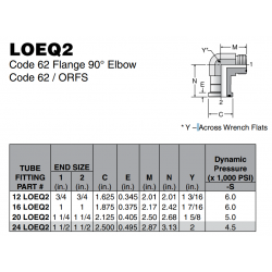 LOEQ2 Code 62 Flange 90° Elbow Code 62 / ORFS