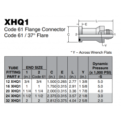 XHQ1 Code 61 Flange Connector Code 61 / 37° Flare