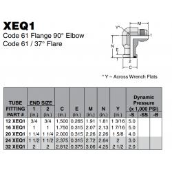 XEQ1 Code 61 Flange 90° Elbow Code 61 / 37° Flare