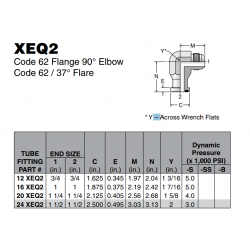 XEQ2 Code 62 Flange 90° Elbow Code 62 / 37° Flare