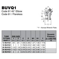 BUVQ1 Code 61 45° Elbow Code 61 / Flareless