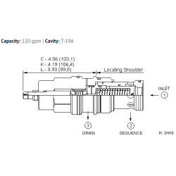RSJSLAN Pilot operated, balanced poppet sequence valve