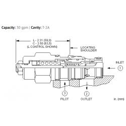 CBEALHN 3:1 pilot ratio, standard capacity counterbalance valve