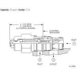CBEHLJN 10:1 pilot ratio, standard capacity counterbalance valve